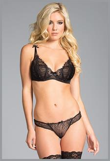 Women's Underwired Black Bra Set - Black - L