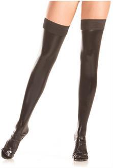 Women's Stay up wet-look thigh highs - BLACK - O/S