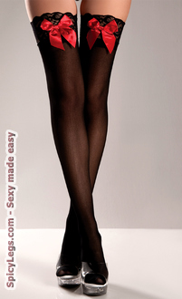 Women's Sheer Lace-Top Thigh Highs With Red Satin Bows