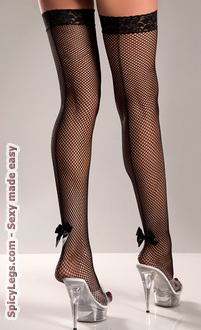 Women's Fishnet Back Seam Thigh Highs With Satin Bow
