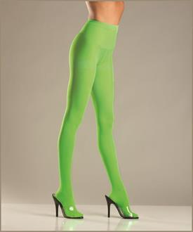 Women's Opaque Nylon Pantyhose - Lime Green - Queen