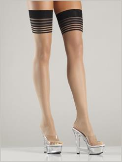 Women's Multi-stripe top thigh highs with back seam - Nude/Black