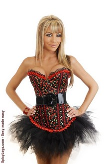 Women's Cherry Pin-Up Burlesque Corset and Pettiskirt for New Year