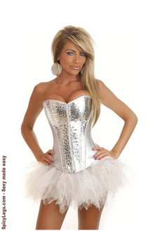 Women's Silver Zipper Burlesque Corset and Pettiskirt