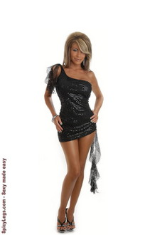 Women's Sequin One-Shoulder Cocktail Dress - One Size