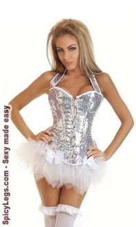 Women's Silver Sequin Halter Corset and Pettiskirt