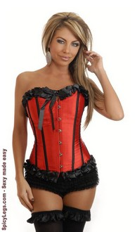 Women's Red Satin Burlesque Corset