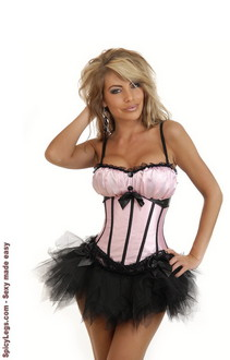 Women's Pink Peasant Burlesque Corset and Pettiskirt for New Year