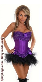 Women's Burlesque Purple Corset and Pettiskirt