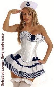 Women's 3 PC Navy Sailor Girl Costume
