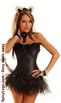 Women's 6 PC Sexy Cat Costume