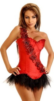 Women's Floral Strap Underwire Corset and Pettiskirt