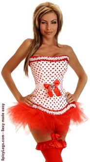 Women's Pretty in Polka Dots Burlesque Corset and Pettiskirt