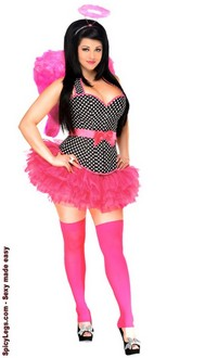 Women's 4 PC Pin-Up Rockabilly Angel Costume for Halloween