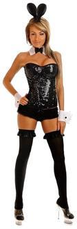 Women's 4 PC Sequin Pin-Up Bunny Costume