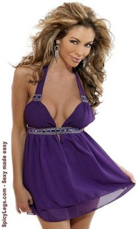 Women's Jeweled Halter Babydoll - One Size