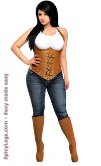 Women's Steel Boned Distressed Faux Leather Underbust Corset Top
