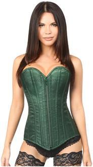 Women's Top Drawer Dark Green Brocade Steel Boned Corset