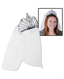 Women's Bride to be Tiara and Veil - standard