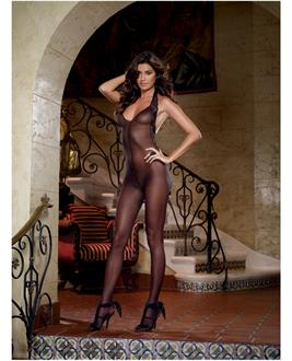 Women's Sheer Halter Bodystocking With Lace Trim - One Size