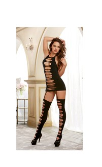 Seamless Opaque Halter w/Adjustable Tie Closures and Attached Garters and Stockings Black