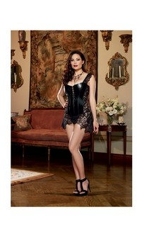 Faux Leather Venice Lace Fully Boned Corset w/Hi-Low Attached Skirt and Thong