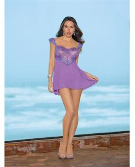 Lace Up Back Chemise Lilac Breeze