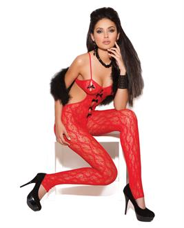 Women's Vivace lace bodystocking with satin bow detail - One Size
