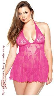 Women's Stretch Lace Chemise With Matching G-String for New Year