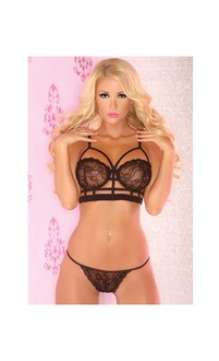 Pink Lipstick Floral Crush Lace Bra and G-String Set Black
