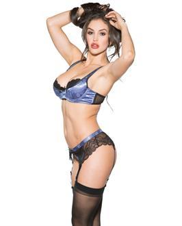 Lace and Mesh Underwire Bra, G-Belt and Thong Peri Winkle