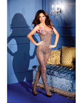Women's Leopard Print Crotchless Bodystocking - One Size