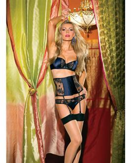 Lace and Satin Bra, Thong and Waist Cincher w/Removable Garter Straps Navy
