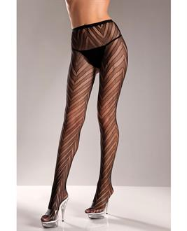 Women's Designed Chevron Pattern Lycra Lace Pantyhose