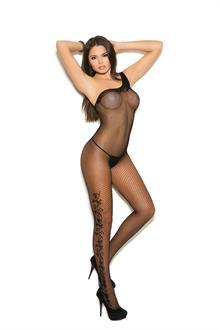Women's Fishnet bodystocking with floral scroll detail - Black