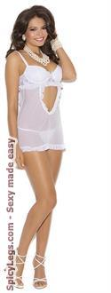 Mesh Babydoll Features Lace Underwire Cups With Matching G-string