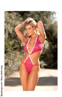 Women's Halter neck mesh teddy with ruffled trim - RASPBERRY