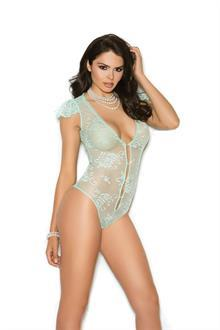 Lace teddy with pearl button