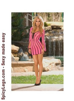 Women's Fishnet long sleeve mini dress