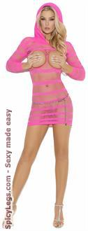 Women's Hooded Open Bust Mini Dress - Neon Pink - One Size