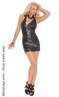 Women's Moto Style Halter Dress With Low Cut Back.