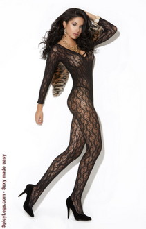Women's Long sleeve lace bodystocking - BLACK - One Size