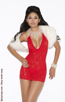 Women's Deep V lace halter dress - RED - One Size