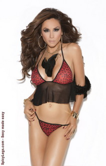 Women's Cami top and g-string - RED ANIMAL - One Size