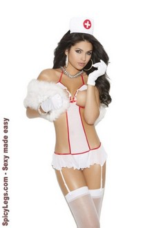 Women's Nurse Feel Good teddy set - WHITE - One Size