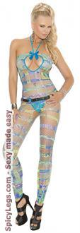 Women's Halter bodystocking In Geometric Print - Multi - One Size