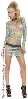 Women's Long sleeve Mini Dress In Geometric Print - Multi - One Size