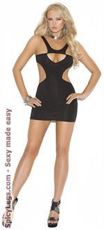 Women's Opaque Mini Dress with Side Cut-Outs - Black - One Size