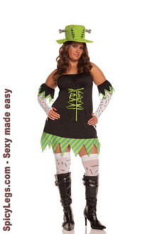 5 pc. Monster Mistress Costume includes halter dress, gloves, arm bands, thigh his and hat