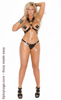 Women's Plus Size Harness with G-string Set - BLACK - Queen Size